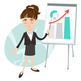 Office woman presenting a graph on flip-chart. Flat style Stock Photo