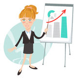 Office woman presenting a graph on flip-chart. Flat style Royalty Free Stock Image