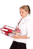 Office woman with red folders. Stock Images