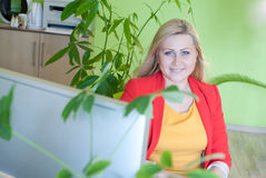 Office woman sitting work business. Office woman sitting work desk business worker green lady smiling portrait Stock Image