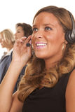 Office woman smile headset Royalty Free Stock Photo