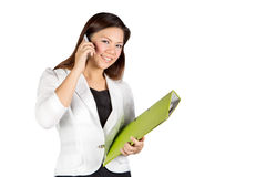 Office woman talking on mobile phone Stock Photos