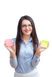 Office woman with two post it Royalty Free Stock Images