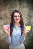 Office woman with two post it Stock Photography