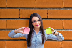 Office woman with two post it Stock Photos