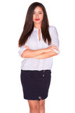 Office woman in white shirt isolate on white background Stock Photography