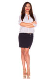 Office woman in white shirt isolate on white background Royalty Free Stock Photo