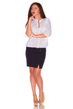 Office woman in white shirt isolate on white background Stock Images