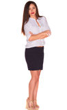 Office woman in white shirt isolate on white background Stock Image