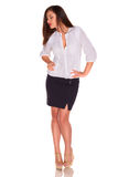 Office woman in white shirt isolate on white background Royalty Free Stock Image