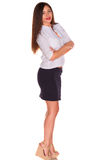 Office woman in white shirt isolate on white background Royalty Free Stock Photography
