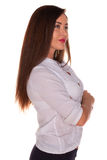 Office woman in white shirt isolate on white background Stock Photos