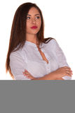 Office woman in white shirt isolate on white background Royalty Free Stock Images