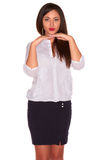 Office woman in white shirt isolate on white background Stock Photo