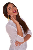 Office woman in white shirt isolate on white background Royalty Free Stock Photos