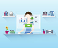 Office woman worker using computer Royalty Free Stock Images