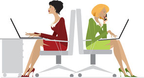 Office Women. An illustration showing two office women sitting on a chair working on their laptops, isolated on a white background Royalty Free Illustration