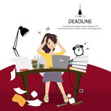 Office women work hard and headaches because of not completed as scheduled. Stock Images