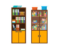 Office wooden cabinet with many folders, accounting files with documents. Stock Photography