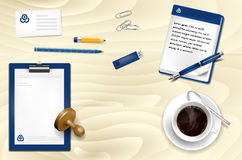 Office wooden table with office supplies and coffee Stock Photo
