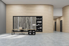 Office: wooden wall and and bookcase Stock Photos