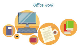 Office Work Concept Flat Design Icon. Document and computer, business workplace, digital screen, workspace and monitor, paper page, process paperwork, coffee Stock Photography