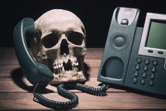 Office work concept. Human skull model with modern telephone on wooden table and black background. stock photo