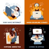 Office Work Concept Icons Set. With deadline symbols flat isolated vector illustration Stock Photo