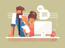 Office work day. Male boss and secretary. Vector flat illustration Royalty Free Stock Photo