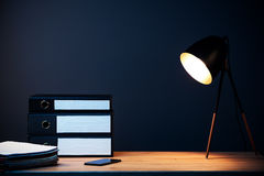 Office work desk and lamp Royalty Free Stock Photography