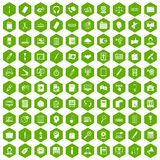 100 office work icons hexagon green. 100 office work icons set in green hexagon isolated vector illustration Stock Photo
