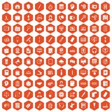 100 office work icons hexagon orange. 100 office work icons set in orange hexagon isolated vector illustration Stock Image