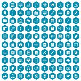 100 office work icons sapphirine violet. 100 office work icons set in sapphirine hexagon isolated vector illustration Royalty Free Stock Images