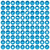100 office work icons set blue Stock Photos