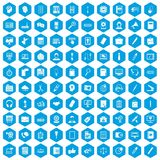 100 office work icons set blue. 100 office work icons set in blue hexagon isolated vector illustration vector illustration