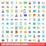 100 office work icons set, cartoon style. 100 office work icons set in cartoon style for any design vector illustration Royalty Free Stock Photos