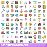 100 office work icons set, cartoon style. 100 office work icons set. Cartoon illustration of 100 office work vector icons isolated on white background Stock Photos