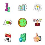 Office work icons set, cartoon style. Office work icons set. Cartoon illustration of 9 office work vector icons for web Royalty Free Stock Photography