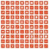 100 office work icons set grunge orange. 100 office work icons set in grunge style orange color isolated on white background vector illustration Royalty Free Stock Images