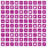 100 office work icons set grunge pink. 100 office work icons set in grunge style pink color isolated on white background vector illustration Royalty Free Stock Photo