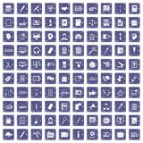 100 office work icons set grunge sapphire. 100 office work icons set in grunge style sapphire color isolated on white background vector illustration Royalty Free Stock Images