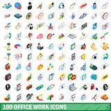 100 office work icons set, isometric 3d style. 100 office work icons set in isometric 3d style for any design illustration stock illustration