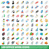 100 office work icons set, isometric 3d style Royalty Free Stock Photos