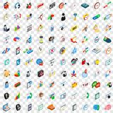 100 office work icons set, isometric 3d style Stock Images
