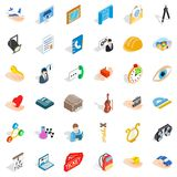 Office work icons set, isometric style. Office work icons set. Isometric style of 36 office work vector icons for web  on white background Royalty Free Stock Photos
