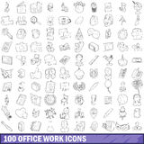 100 office work icons set, outline style. 100 office work icons set in outline style for any design vector illustration Royalty Free Stock Photo