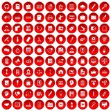 100 office work icons set red. 100 office work icons set in red circle isolated on white vector illustration stock illustration