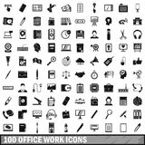 100 office work icons set, simple style Royalty Free Stock Photography