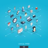 Office work integrated 3d web icons. Digital network isometric interact concept. Royalty Free Stock Photo