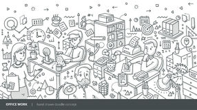 Office Work Isometric Doodle Concept Royalty Free Stock Photo